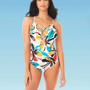 BEACH BETTY Lace Up One Piece Slimming Swimsuit